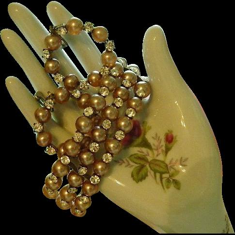 My Favorite 4 Stand Faux Pearl & Rhinestone Bracelet & Hoop Earrings Set