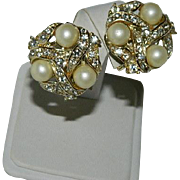 "Luscious ""Star"" Signed Simulated Pearl & Rhinestone Earrings"