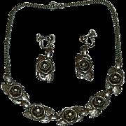 Silver Tone Rhinestone Rose Bud Necklace & Earring Set