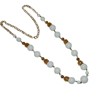 Fabulous Gold Tone Filigree Capped Winter White Beaded Necklace