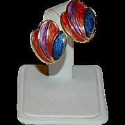 Unique Celluloid Clip Back Enamel Earrings
