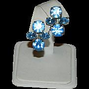 Old Hollywood Glam! Bright Blue Rhinestone Cluster Earrings