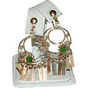 Etruscan Revival Cannetille Yellow Gold Filled Green Stone Earrings