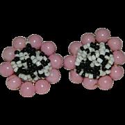 Genuine Vintage Rockabilly Pink Black White Beaded Cluster Earrings  ~ Japan