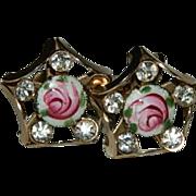 Pretty Guilloche Enamel Rose Rhinestone Earrings