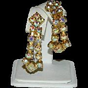 Maximum Bling Golden Hue Aurora Borealis Rhinestone Dangler Earrings