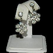 Art Deco Rhinestone Floral Drop Earrings