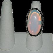 Impressive Opaline Sterling Silver Large Finger Ring sz 7.5