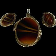 Sarah Coventry Caramel Art Glass Pendant & Earring Set