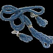 Art Deco Seed Bead Flapper Tassel Necklace & Earrings Set