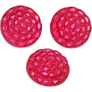 Three Vintage Lucite Buttons, Hot Pink
