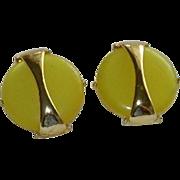 Lemon Drop Yellow Lucite Disk Earrings