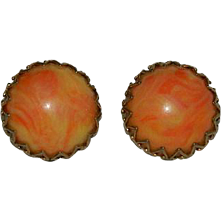 End of Day Orange & Yellow Plastic Button Earrings