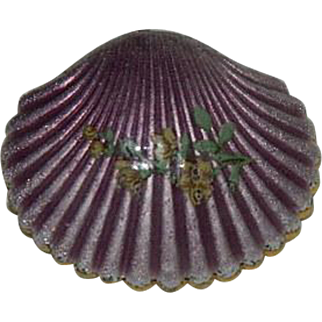 Stunning Guilloche Enamel Clam Shell Brooch ~ Gold Plated