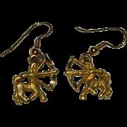Vintage Sagittarius Gold Tone Earrings ~ Pierced