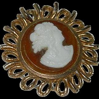 Butterscotch Celluloid Cameo Pendant ~ Sunburst Frame
