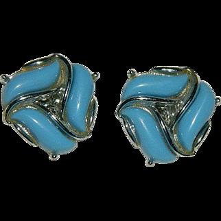 Robin Egg Blue Thermoset Silver Tone Earrings