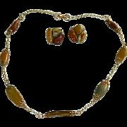 1950's Hand Made Genuine Petrified Wood & Agate Necklace & Earrings Set