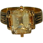 Vintage Edwardian 14k over Sterling Silver Citrine Ring sz 7