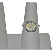 Glowing Faceted Opalite Sterling Silver Ring sz 8