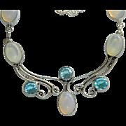 Sublime Opalite Aquamarine Necklace ~ Art Nouveau Style