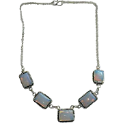 Chunky Opalite Square Cab Sterling Necklace