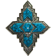"""Sarah Coventry """"Inca"""" Turquoise Native Design Brooch  ~ 1974"""