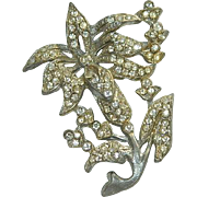 Art Deco Pot Metal Paste Stone Oversized Brooch Lily
