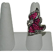 Shimmering Hot Pink Crystal Ring sz 7.5