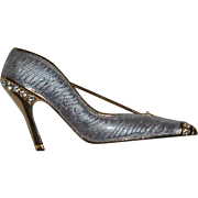 Sleek Lavender Guilloche Enamel Rhinestone Pump or High Heel Shoe Brooch