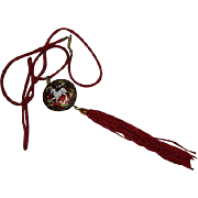 Stunning Burgundy Red Cloisonne Unicorn Pendant on Silk