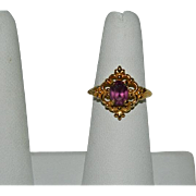 Avon Amethyst Glass Stone Ring sz 7.5