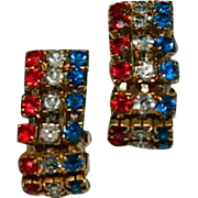 Unique Patriotic Rhinestone Chain Hoop Earrings