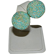 Italian Designer Robin Egg Blue Mint Green Seed Bead Earrings