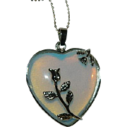 "Sweet Opaline Sterling Heart Pendant with 28"" Sterling Chain"