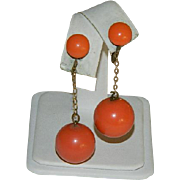 Funky Art Deco Celluloid Pumpkin Orange Ear Bobs ~ Dangler Earrings