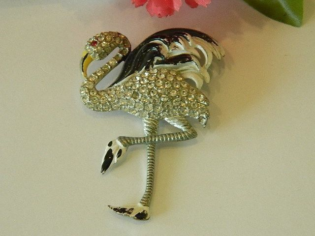 Just Reduced! Book Cover Piece! 1930's Black & White Flamingo Fur Clip  RARE!
