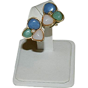 Avon Three Stone Earrings ~ Simulated Rose Quartz, Jadeite, Lapis