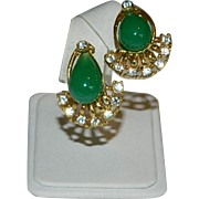 Impressive Egyptian Revival Faux Jade & Diamond Earrings