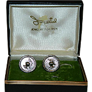 Imperial Silver Tone Roman Knight Cufflinks in Original Box