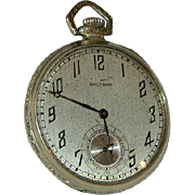 Waltham 1924 14k White Gold Filled Open Face Gent's Pocket Watch