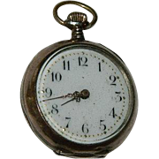 Small 800 Silver Swiss ~ German Cylindrel 10 Rubis Pocket Watch
