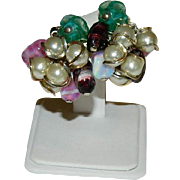 Pretty Art Glass Opaline Cluster Dangler Earrings