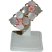 Pretty Mother of Pearl Disk Floral Earrings