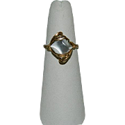 14K Gold Hand Wired Simulated Moonstone Glass Ring ~ sz 7