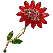 Impressive Weiss Red & Pink Long Stemmed Daisy Brooch