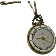 """Rare Navarre Mystery Dial 17 Jewel Pendant Watch on 26"""" Chain"""