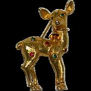 Jeanne Signed Christmas Reindeer Brooch