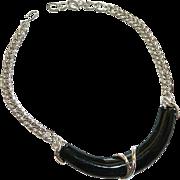 Runway Monet! Black Silver Statement Necklace