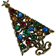 Huge Sparkling Christmas Tree Brooch ~ Multi Colored Large Stones